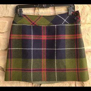 J Crew Sz 4 Plaid Wool Mini Skirt Lined Holidays